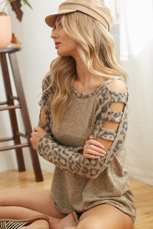 Leopard Ladder Sleeve Top