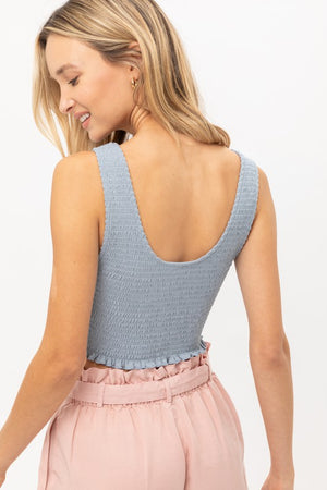 Cropped Smocked Jersey Tank- Blue
