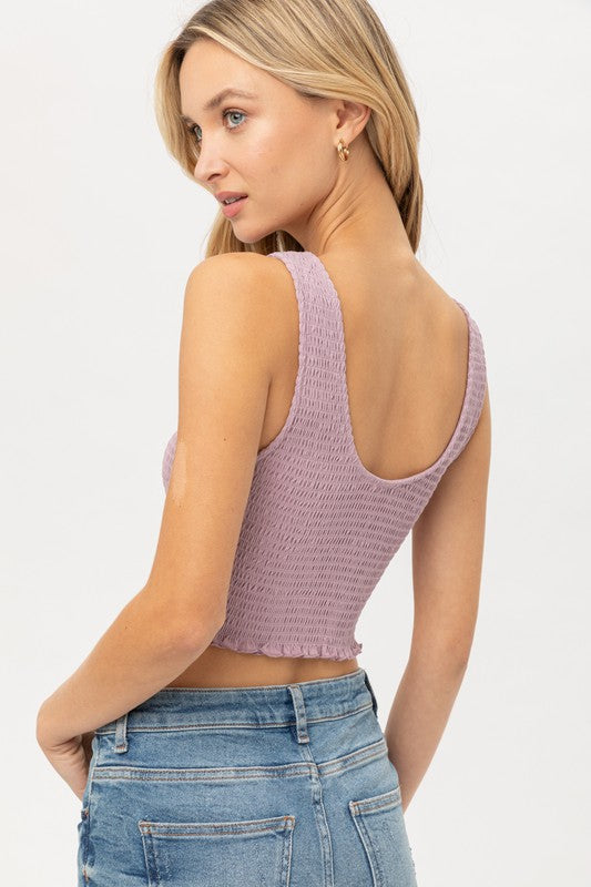 Cropped Smocked Jersey Tank- Lavender