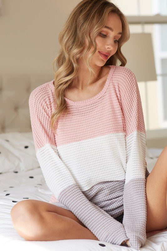 Blush/Grey Color Block Waffle Knit Top