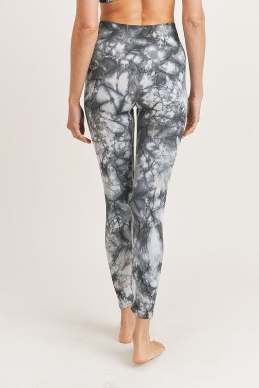 Sky Blue/Charcoal Tie Dye Athletic Leggings