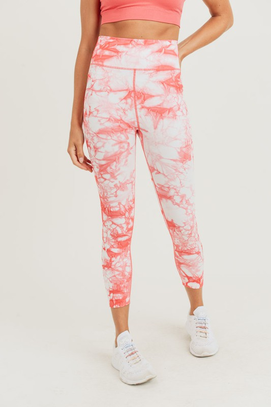 Peach Tie Dye Athletic Leggings