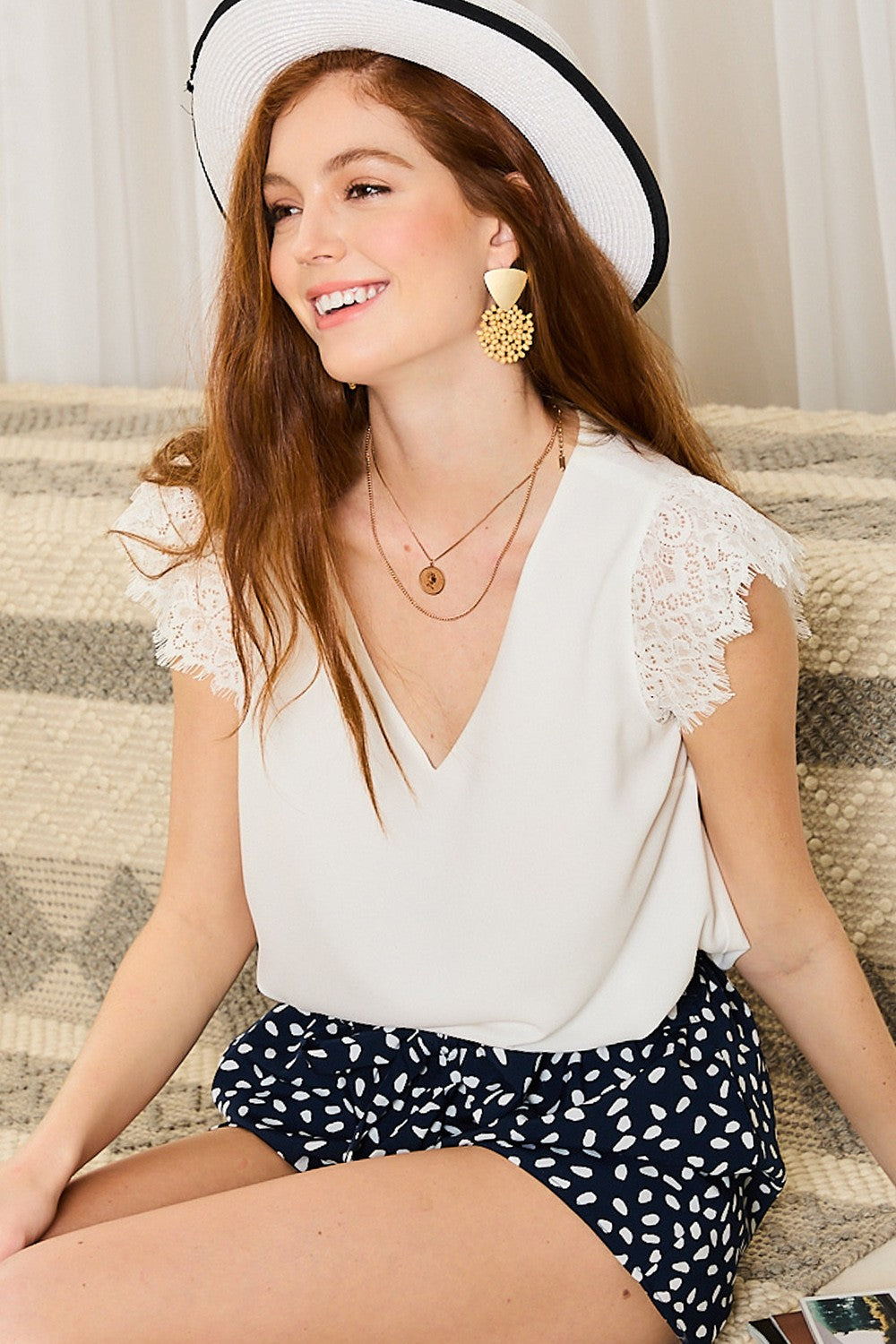 Ivory V-Neck Lace Trim Sleeve Top