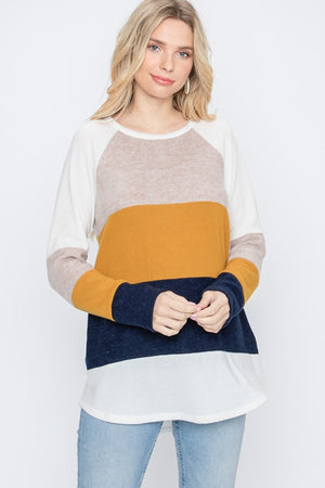Navy/Mustard Color Block Long Sleeve Top
