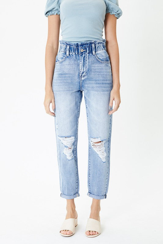 Kan Can High Rise Paper Bag Jeans