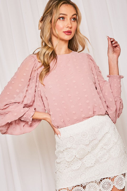 Blush Swiss Dot Smocked Sleeves Top