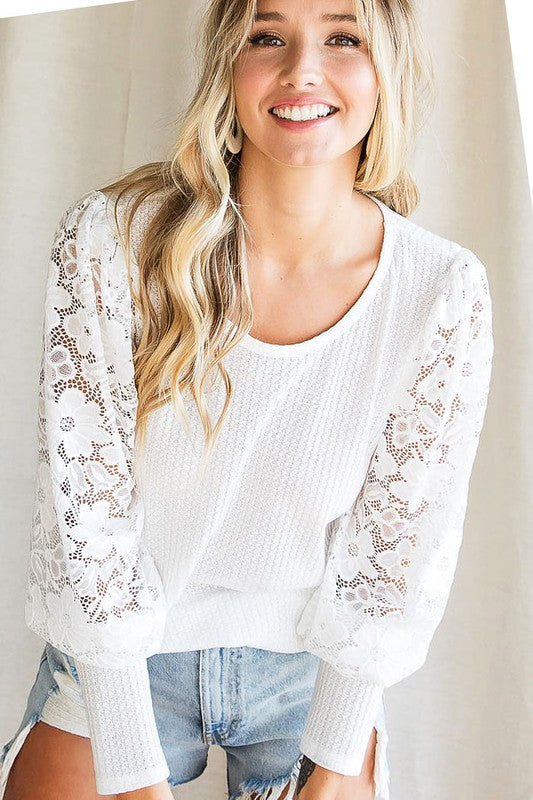 White Waffle Knit Lace Puff Sleeve Top