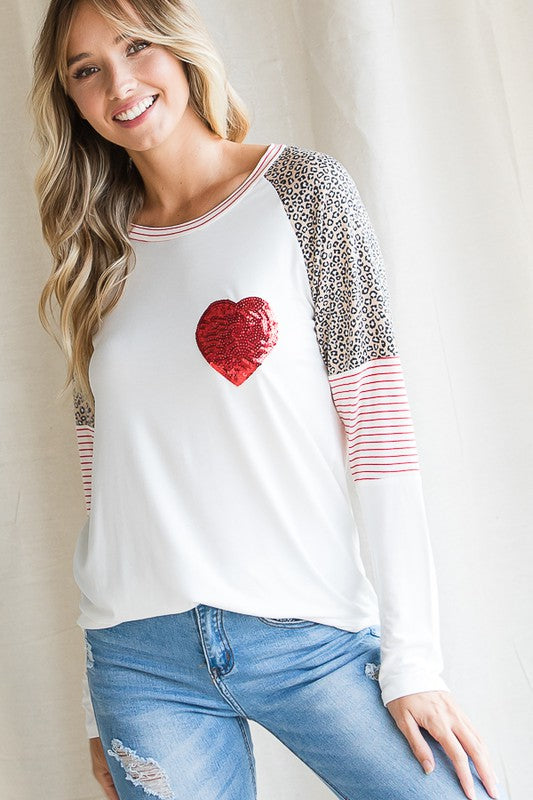 Heart Raglan Sleeve Top