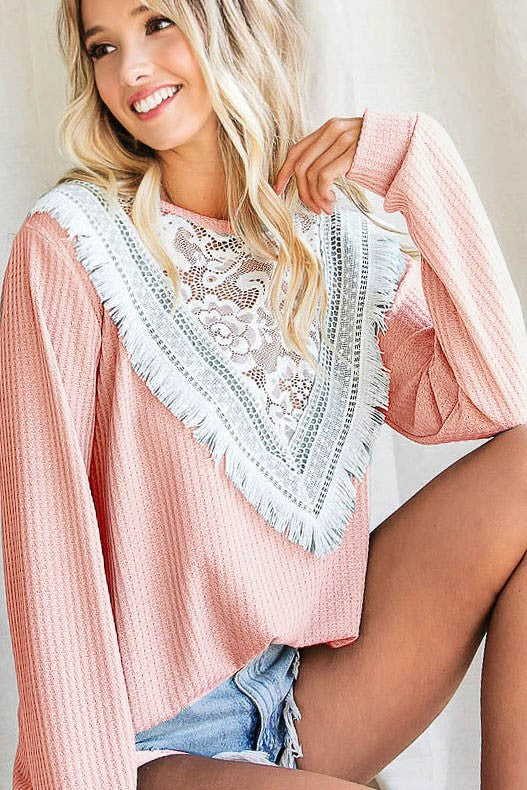Peach Waffle Knit Lace Fringe Top