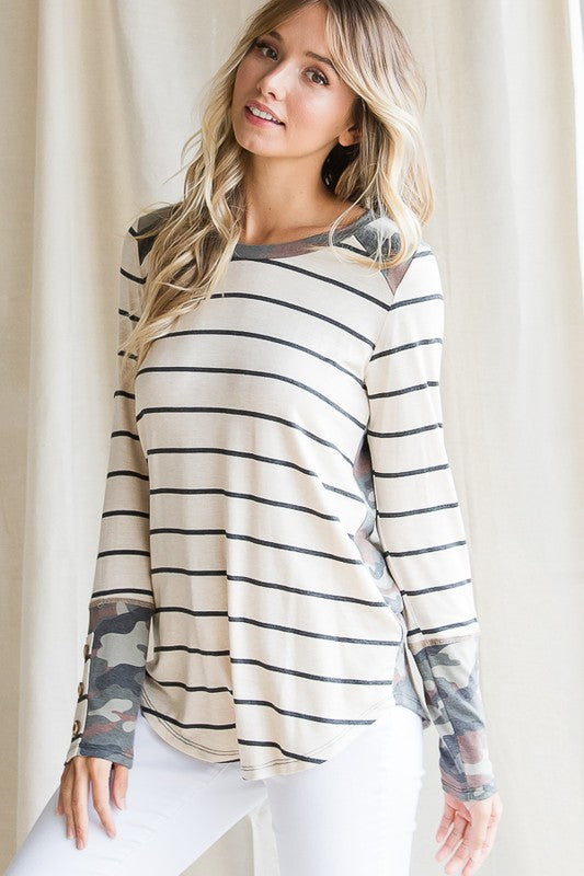 Striped & Camo Long Sleeve Top