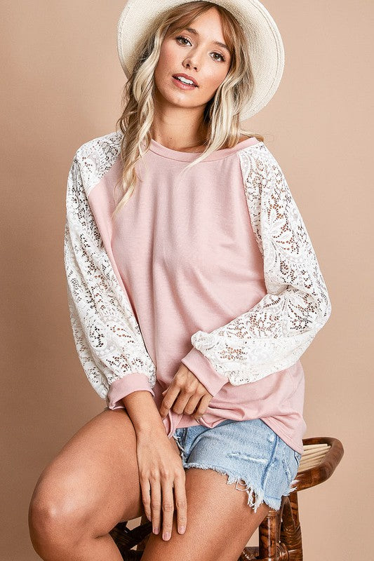 Blush Top with Lace Puff Sleeves