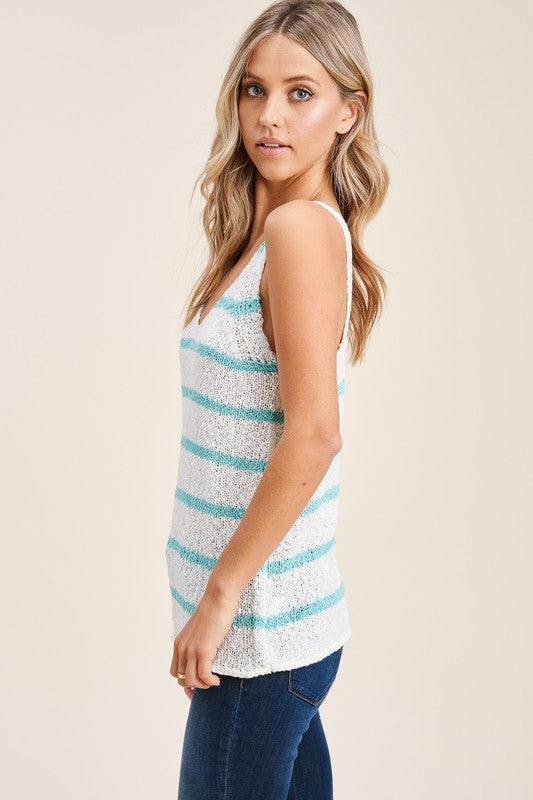 Ivory/Mint Stripe Sweater Tank