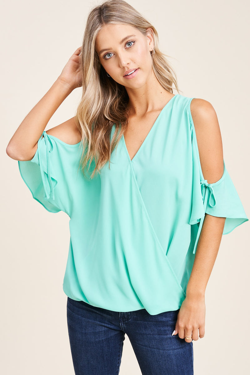 Mint V-Neck Cross Over Cold Shoulder Top