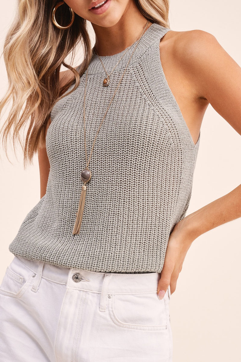 Knit Halter Top- Seafoam