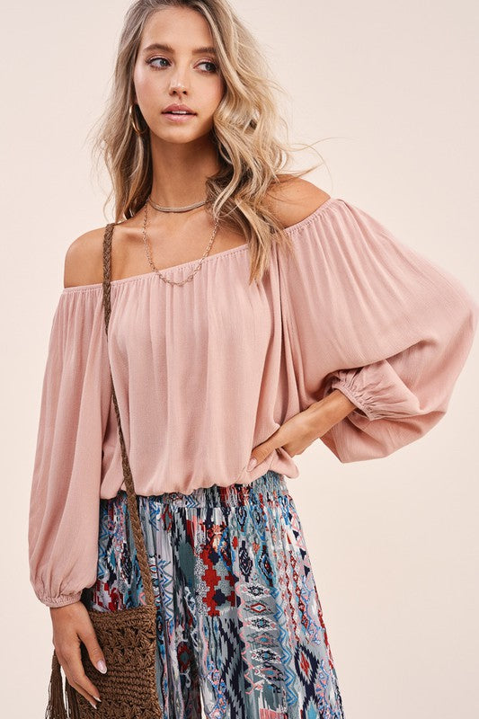Makai Blush Off Shoulder Top
