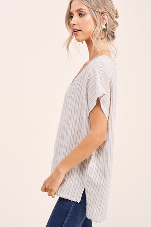 Libra Natural/Blue Stripe Top