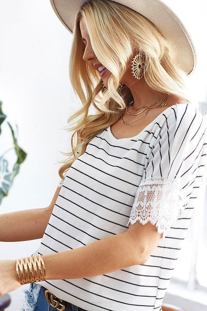 Stripe Waffle Knit with Crochet Lace Sleeve