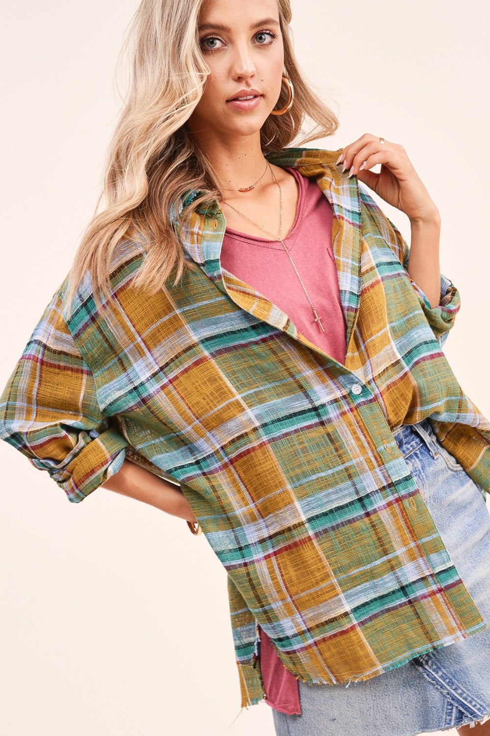 Jade Plaid Button Up