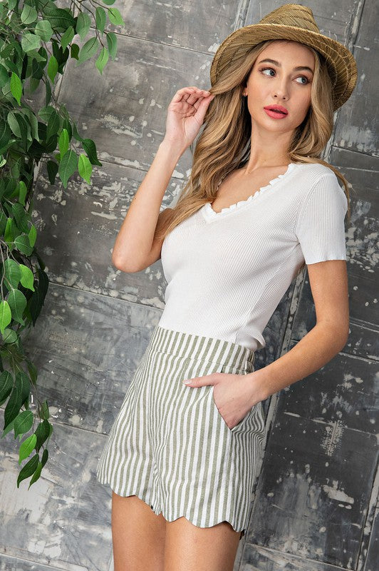 Olive High Waisted Stripe Scallop Shorts