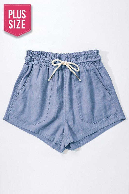Rope Drawstring Shorts- Blue Stone