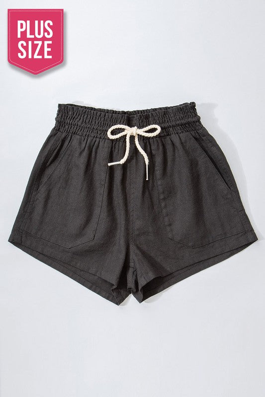 Rope Drawstring Shorts- Black