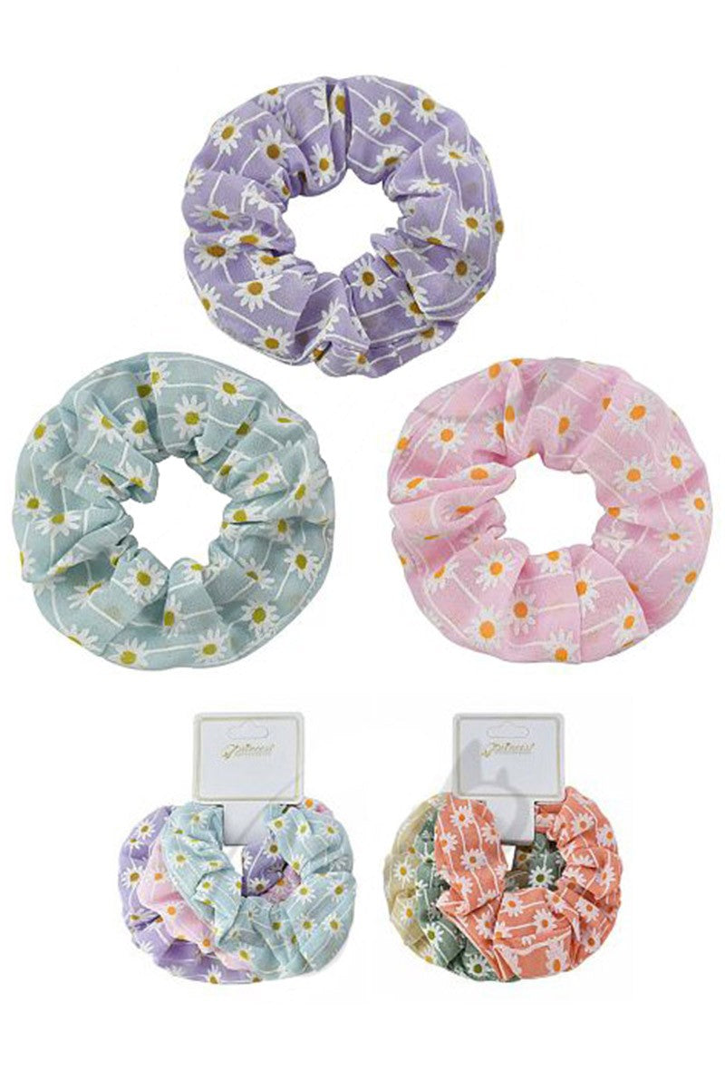 3 Pc. Flower Scrunchie Set