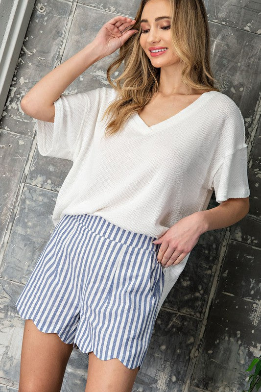 Blue High Waisted Stripe Scallop Shorts