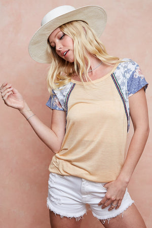 Yellow/Chambray Printed Sleeve Top