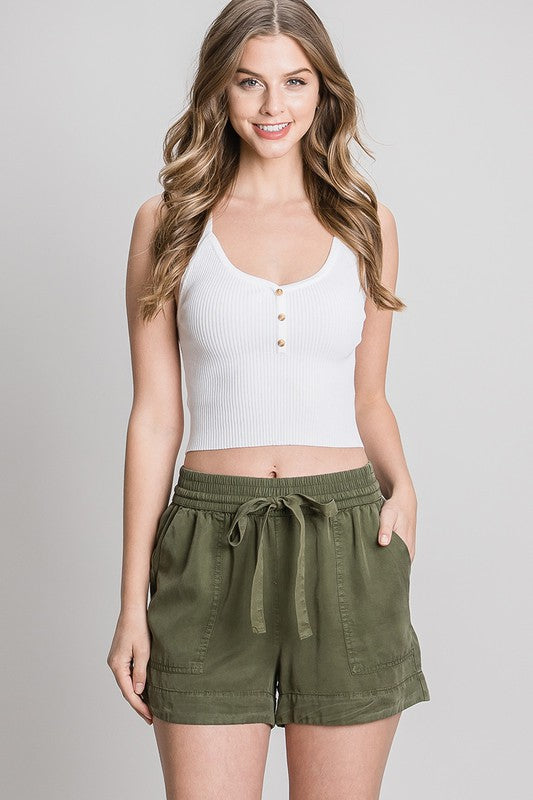 Favorite Olive Drawstring Shorts