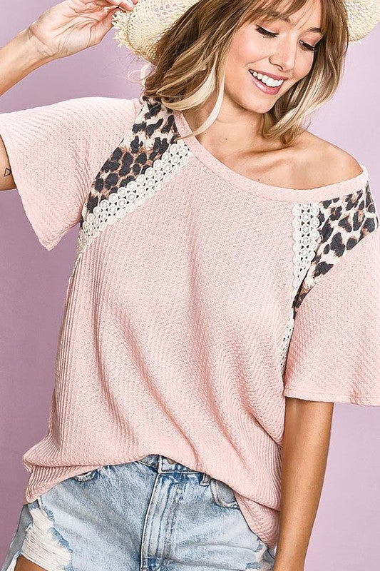 Blush Waffle Knit Lace + Leopard Short Sleeve Top