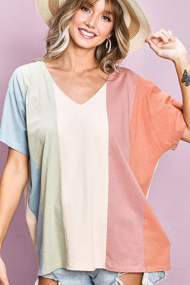Multi Color Vertical Color Block Top