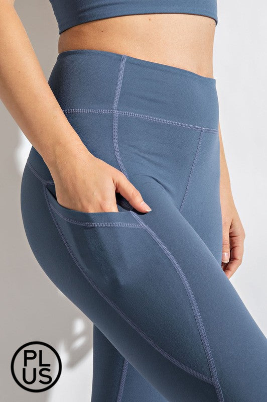 Buttery Soft Capri Yoga Legging w/ Pocket-Code Blue