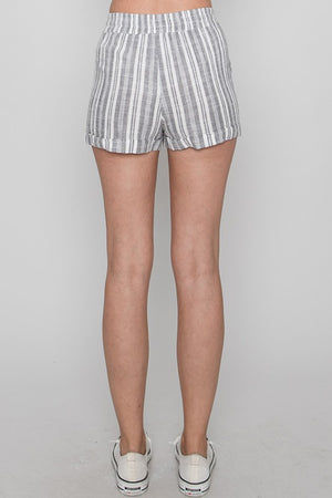 Favorite Grey Stripe Drawstring Shorts
