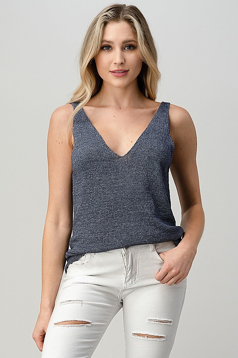 Denim Fine Knit V-Neck Tank