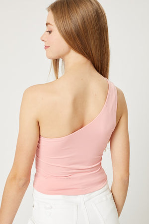 Knit One Shoulder Crop Tank- Pink