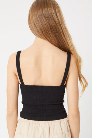 Knit Ribbed Cropped Seamless Tank-Black