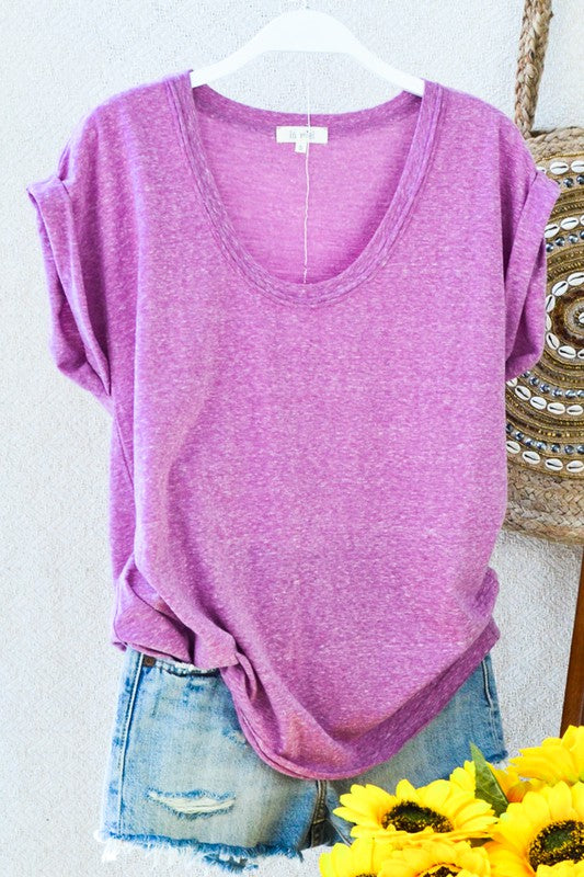Ola Heathered Top- Magenta