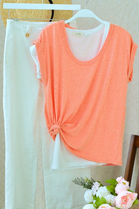 Ola Heathered Top- Coral
