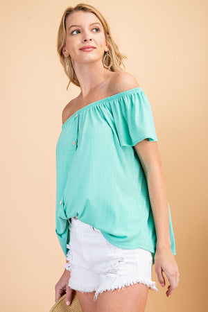 Aqua Button Off Shoulder Top