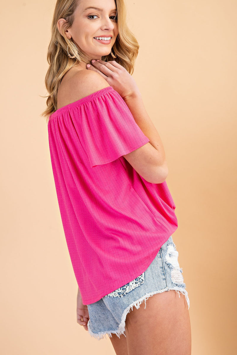 Fuchsia Button Off Shoulder Top