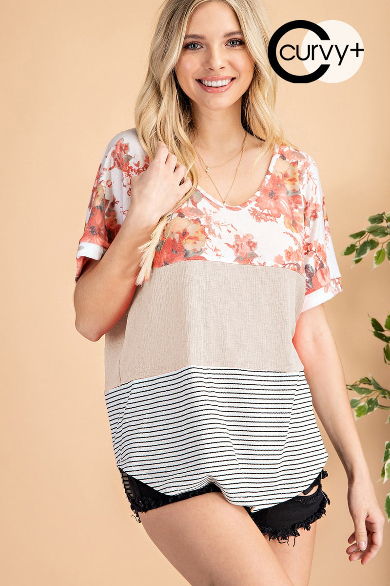 Floral Coral Color Block Top