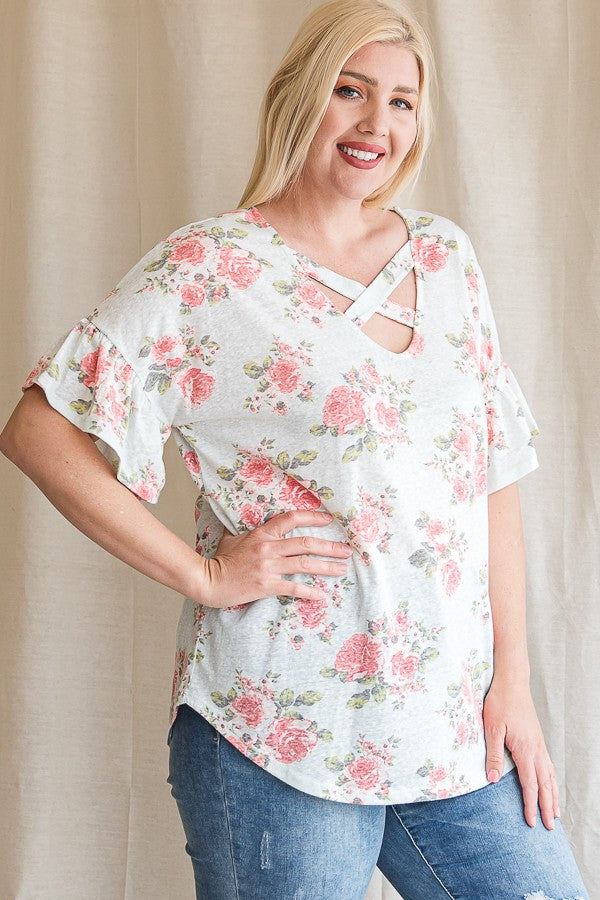 Floral Criss Cross Ruffle Sleeve Top-Vintage Mint