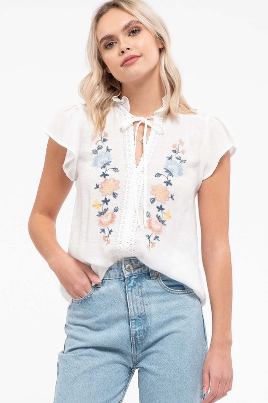 White Floral Crochet Blouse