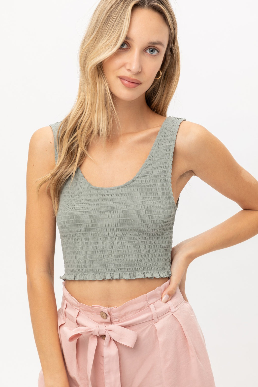 Cropped Smocked Jersey Tank- Olive