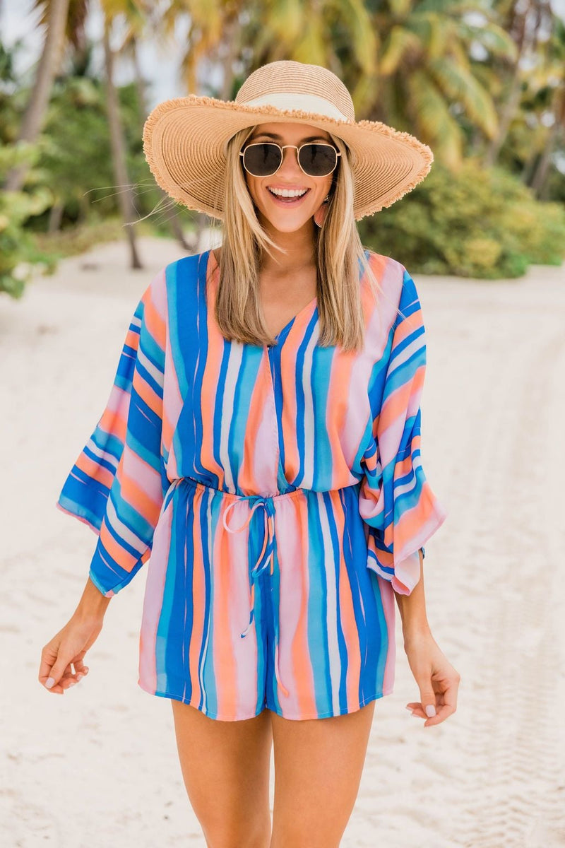 Back In My Heart Royal Blue Striped Romper
