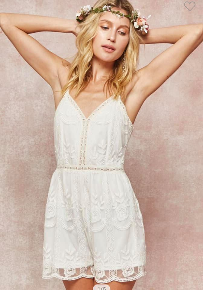 Layered White Lace Embroidered Romper