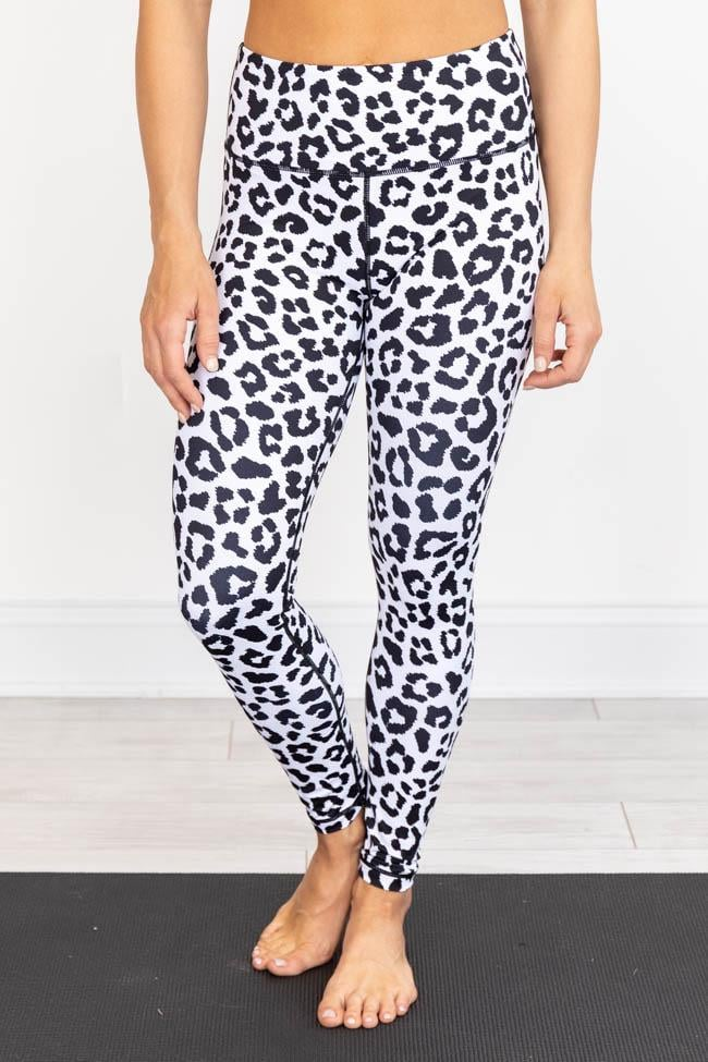 Black and White Leopard Athletic Leggings