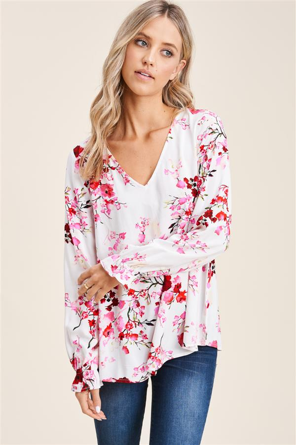 Pink/Red Floral Blouse