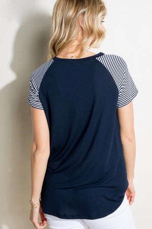 Kirsten -Striped Sleeves Navy Top