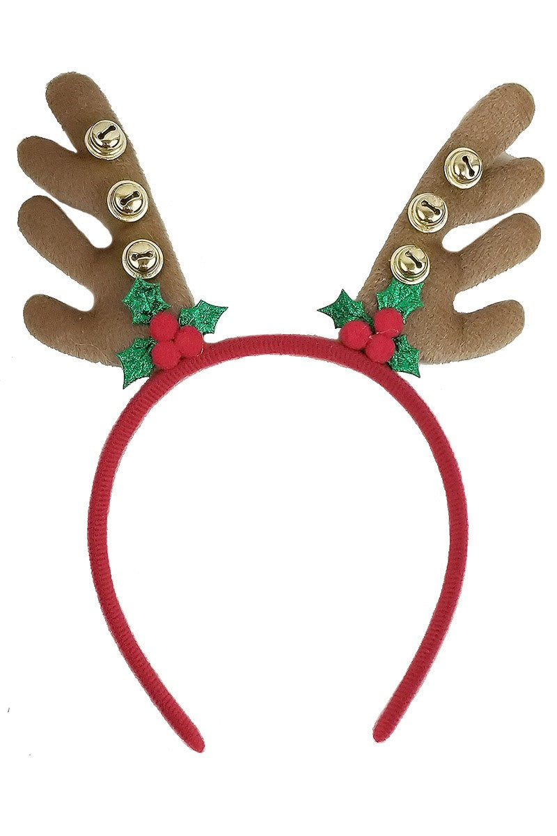 Holiday Antler Headband with Bells